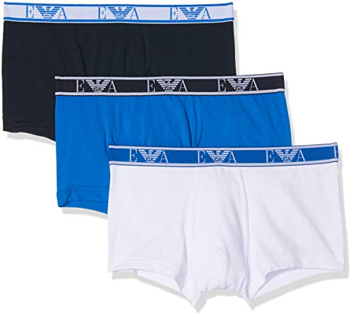 - Emporio Armani Men's Monogram 3-Pack Trunk, White/Marine/Wave, Large
