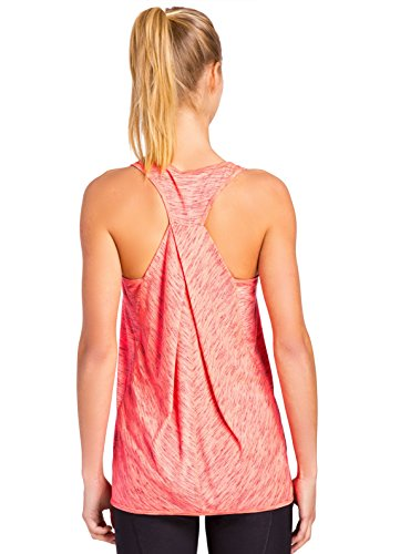 RBX Active Space Dye Tank Top with Twish Back Fiesta Coral Combo S