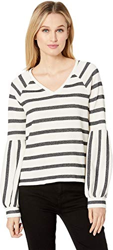 (Two by Vince Camuto Women's Wide Stripe Knit Bubble Sleeve V-Neck Top Antiq White X-Small)