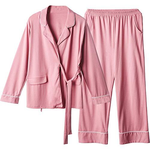 Da Pezzi GYZ Street Soggiorno Donna Due Notte Camicie Beat Rossa Kimono Donna Antistatico Pigiami Da Pigiameria Pigiama Da Rosa Da Minimalista Maniche Notte Lunghe Cotone XXL Giapponese Moda OFqPn1vO