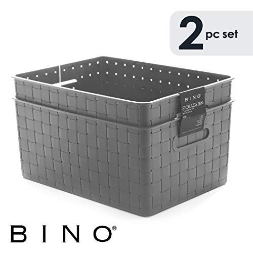 BINO Woven Plastic Storage Basket, Large – 2 Pack (Grey)