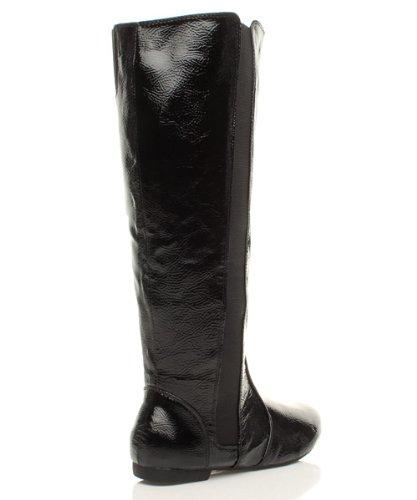 Womens ladies low heel flat round toe zip riding wide stretch calf boots size Black 4leRRlJH