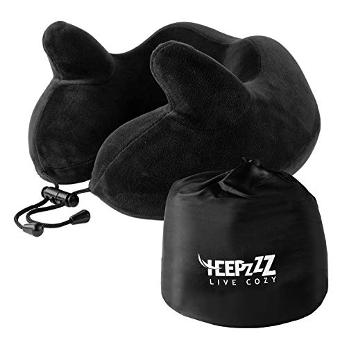 HEEPZZZ Memory Foam Travel Neck Pillow with Soft 4 Way Plush Cover - Supports Your Head & Chin While Sleeping on Airplane, Bus, Train or Car Travel - Includes Carry Bag Accessories - for Men & Women