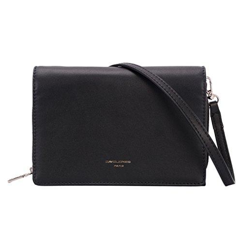DAVIDJONES Womens Faux Leather Wallet Clutch Baguette with Strap Crossbody Shoulder Bag Travel Bag Purse