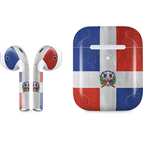 Skinit Dominican Republic Flag Distressed Apple AirPods 2 Skin - Officially Licensed Skinit Originally Designed Audio Sticker - Thin, Case Decal Protective Wrap for Apple AirPods 2