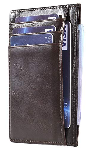 Easyoulife RFID Slim Card Wallet Leather Small Front Pocket Wallet for Men Women (A Oil Deep ()