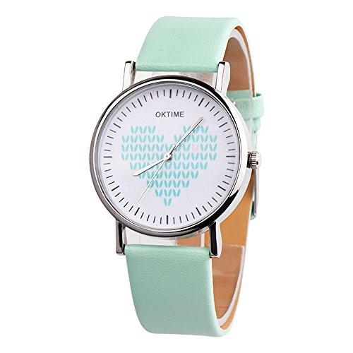 Watches For Women,POTO Quartz Women Watches Color Stripe Heart-shaped Pattern Aolly Round Case Wristwatch Womens Leather Analog Quartz Wrist Watch For Ladies Teen Girls Clearance On Sale (Green) (Ladies Watch Heart Shaped)