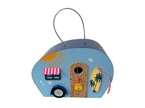 Multi-color Painted Wood Bird House Seaside Style Car shape