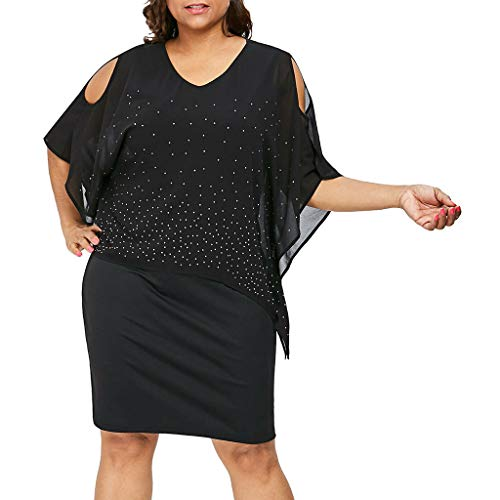 (OrchidAmor 2019 Women Plus Size O-Neck Solid Cold Shoulder Overlay Asymmetric Diamonds Dress Black)