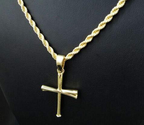 Preciashopping Unisex Fashion Baseball Team Triple Bat Cross Pendant w// 24 Rope Chain Necklace