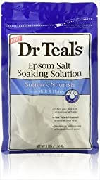 Dr. Teal\'s Epsom Salt Soaking Solution, Soften & Nourish with Milk and Honey, 48oz