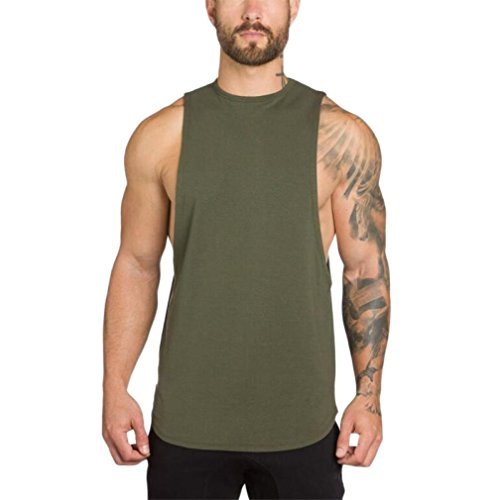 - iLXHD Men's Gyms Body Fitness Muscle Sleeveless Singlet T-Shirt Vest Tank(Army Green,L)