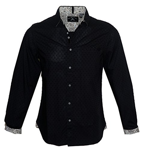 Rock Roll-n-Soul Men's Dobby Fabric Long Sleeve Fashion Button up Shirt in Black Lonely is The Word 628B (M) -