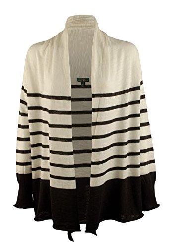 Lauren Ralph Lauren Women's Plus Size Striped Shawl-Collar Cardigan-PB-3X