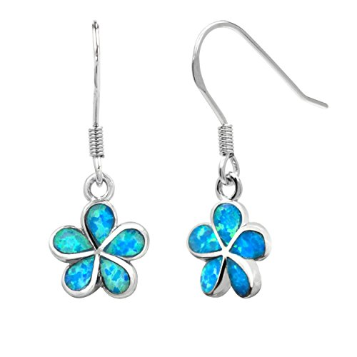 Sterling Silver Plumeria Earrings Simulated