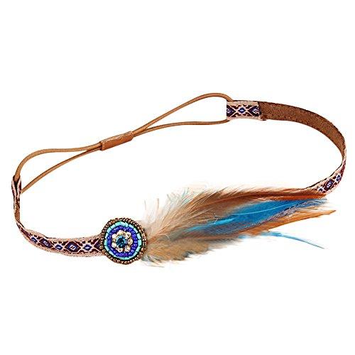 [Topbeu Women's Vintage Boho Ethnic Style Hippie Feather Thin Headband] (Ethnic Hats)