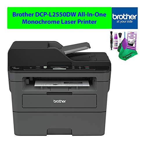 Brother DCP-L2550DW All-in-One AIO Monochrome Black and White Laser Printer Wireless Duplex Best Value Bundle with Necessary Cleaning Kit