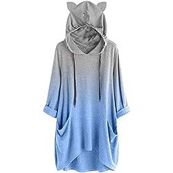 Malbaba Sudadera con Capucha para Mujer, diseño de Orejas de Gato, Color Liso, con Bolsillo, Azul 2, M