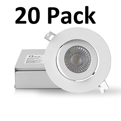 - QPLUS 4 Inch Ultra-Thin Adjustable Eyeball Gimbal LED Recessed Lighting with Junction Box/Canless Downlight, 10 Watts, 750lm, Dimmable, Energy Star and ETL Listed (3000K Warm White, 20 Pack)