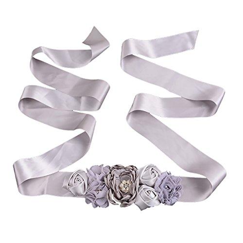 Silver Floral Belt (ECHAIN Women's Flower Bridal Bridesmaid Floral Dresses Wedding Sash)