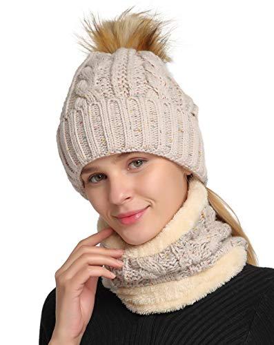 Jeasona Women Winter Slouchy Beanie Warm Ski Snow Pom Pom Knit Hats Fleece Lining (Oatmeal Hat Scarf Set)