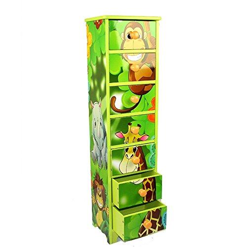 Homestyle4u Kinderkommode Kinderschrank Kinder Schrank Regal Dschungel +Schubladen
