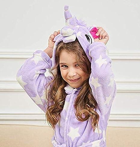 Ruiuzi Soft Unicorn Bathrobes,Girls Bathrobe Fleece Sleepwear Unicorn Gifts