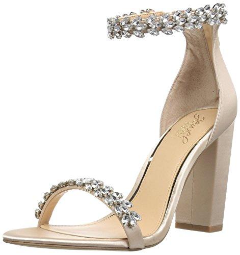 (Badgley Mischka Jewel Women's Mayra Heeled Sandal, Champagne Satin, 11 M US)