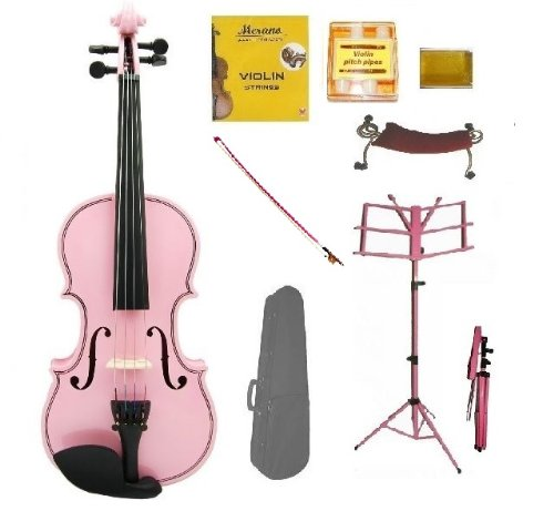Merano 3/4 Size PINK Acoustic Violin with Case+PINK Stick Bow+Rosin+2 Sets Strings+Tuner+Shoulder Rest+PINK Music Stand