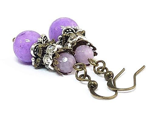Purple Jade Jewelry Gemstone Earrings Dangle Earrings Gifts Ideas for Mom
