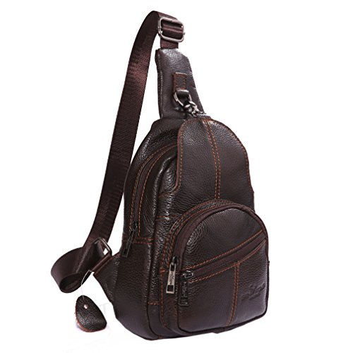 Sling Shoulder Bag Black Travel Pack Men Leather Chest Coffee Genuine Messenger Body Cross 0fqfYC