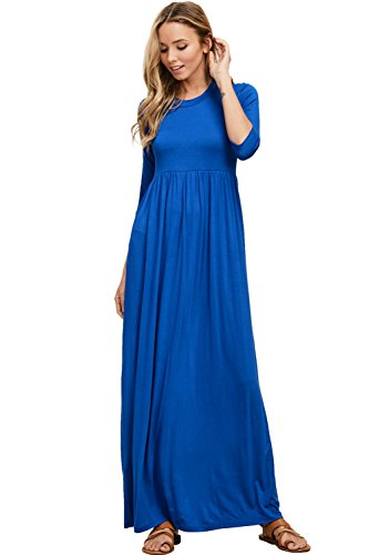 Premium Quarter Round - Annabelle Women's Quarter Sleeve Loose Soft and Snug Round Neck Long Dress with Pockets Royal Large D5185
