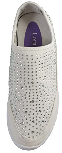 Lora Dora Womens Slip On Glitter Trainers White/White Slip on EdvL9cC