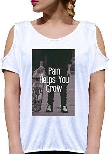 T SHIRT JODE LADY GGG27 Z0422 PAIN HELP YOU GROW COOL FUN FASHION ROCK COOL HIPSTER BIANCA - WHITE XL