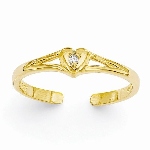 Solid 14k Yellow Gold .01ct Diamond Love Heart Adjustable One Size Fits All Toe Ring (1 to 4mm) by Sonia Jewels (Image #2)