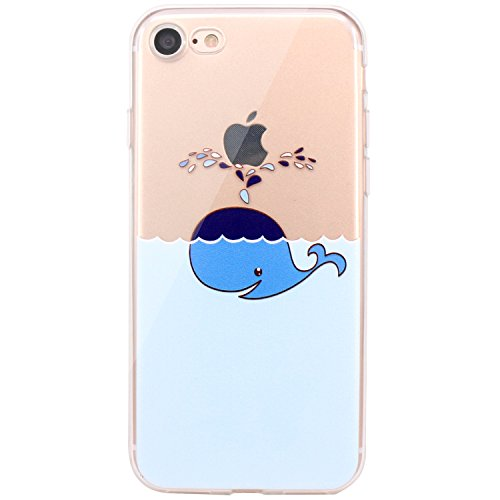 (JAHOLAN iPhone 7 Case, iPhone 8 Case Amusing Whimsical Design Clear Bumper TPU Soft Case Rubber Silicone Cover for iPhone 7 iPhone 8 - Whale)