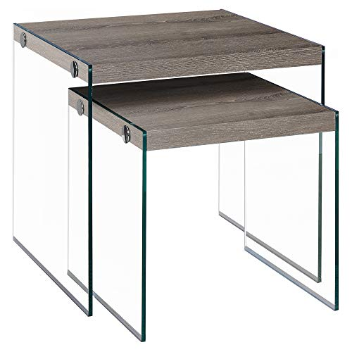 Monarch Specialties I 3053,Nesting Table, Tempered Glass, Dark Taupe ()