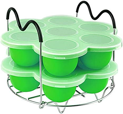 PRAMOO Silicone Egg Bites Mold and Egg Steamer Rack Trivet with Sling Compatible with Instant Pot 6 /& 8qt Pressure Cooker Accessories 3 pcs//set for 5 Green