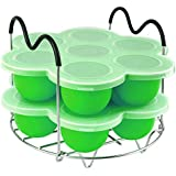PRAMOO Silicone Egg Bites Molds and Steamer Rack Trivet with Handles for Pressure Cooker Accessories, 3pcs/set for 6qt…
