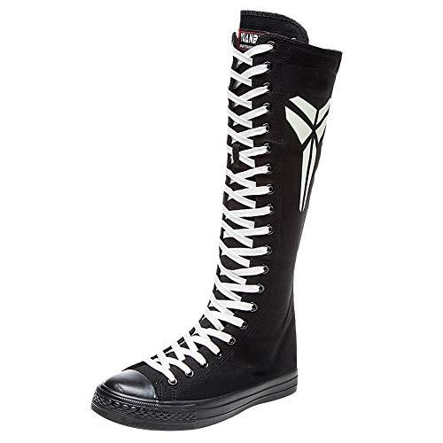 rismart Girls Women Fashion Knee High Lace-Up Canvas Boots Pure Black Zip Dance Boots Luminouss SN814 - Knee Boot Style Flat