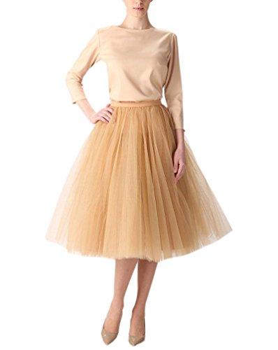 [Belle House Light Gold Tulle Sheer Skirts Dresses for Party 2017] (Plus Size Tutu Skirt)