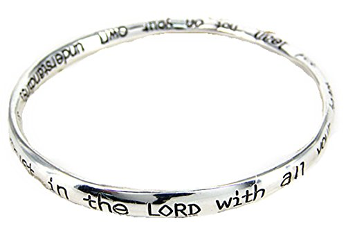 4030198 Proverbs 3:5 Trust in the Lord Twisted Bangle Christian Scripture Religious Fashion Bracelet