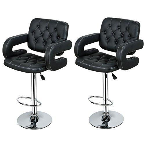 Contemporary Bar stool Hydraulic Adjustable 360 Degree Swivel Leather Padded Backrest Kitchen Pub Dinning Chair Sturdy Chrome Base - Set of 2 Black #1948
