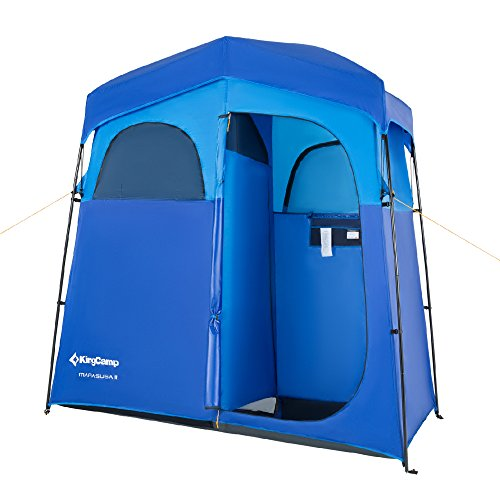 KingCamp 2-Room Non-Instant Easy Up Portable Dressing Changing Room Shower Privacy Shelter Tent with Rain Fly