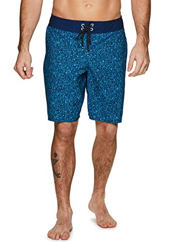 RBX Active Men's Quick Dry Swim Trunk Boardshorts with Zipper Pocket Multi Blue M