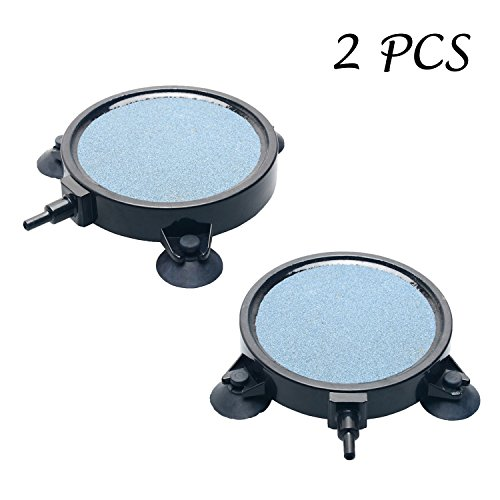 2 PCS Pawfly 4-Inch Air Stone Disc Bubble Diffuser with Suction Cups for Hydroponics Aquarium Fish Tank Pump by Pawfly