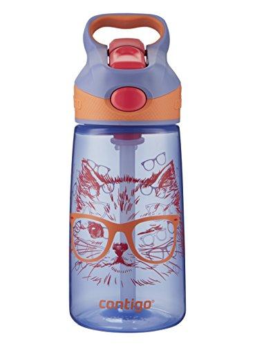 Contigo AUTOSPOUT Straw Striker Kids Water Bottle, 14 oz, Wink Winky Cat
