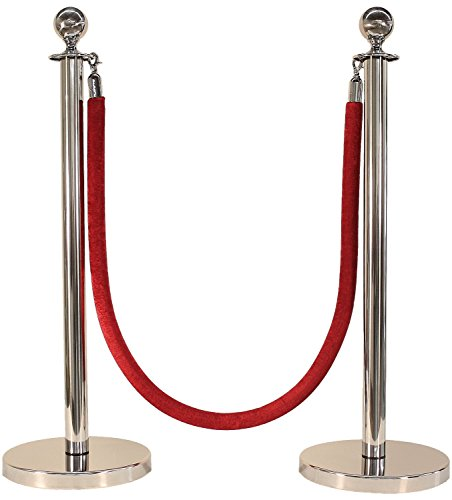 "Apex Luxury Series Crown Top Chrome Stainless Steel Stanchion Post 4 Pcs With 72"" Black Braided Rope 4 Pcs, 11"" x 17"" Premium Sign Frame and Wall Plate by Apex (Image #1)"