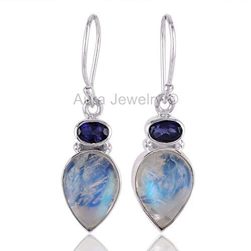 - 925 Sterling Silver Earrings for Womens & Girls, Drop & Dangle Earrings, Iolite, Rainbow Moonstone Earrings Sterling Silver for Womens & Girls, Gift for Womens, Mom, Bridesmaid Gift, Handmade Jewelry
