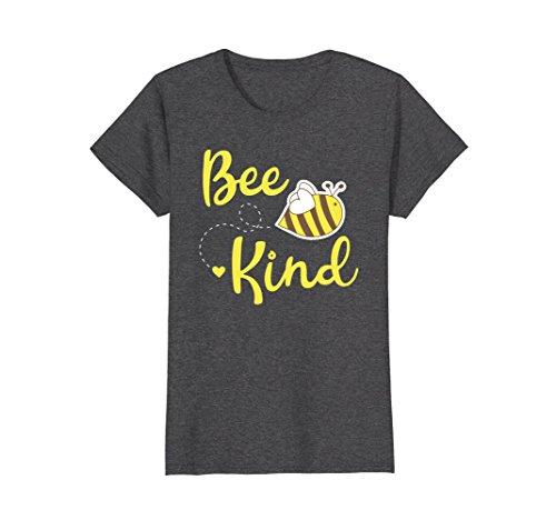 Bee Dark T-shirt - Womens Bee Kind Shirt - Cute Bumble Bee Kindness T-Shirt Medium Dark Heather